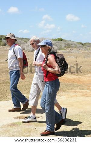 Senior group hiking - stock photo