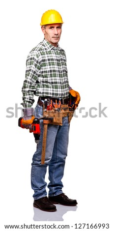 senior handyman isolated on white - stock photo