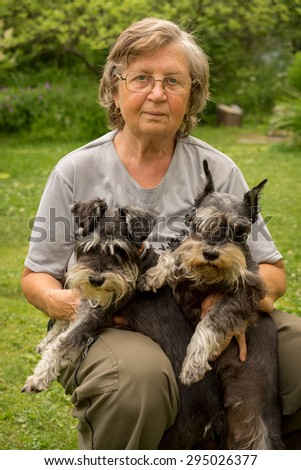 Senior happy woman in glasses and two black and silver miniature schnauzer dogs in a garden - stock photo