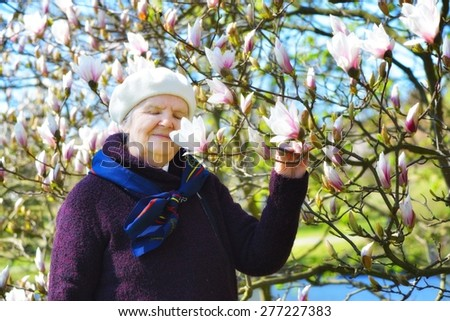 Senior happy woman smiling in garden full of magnolia flowers. - stock photo