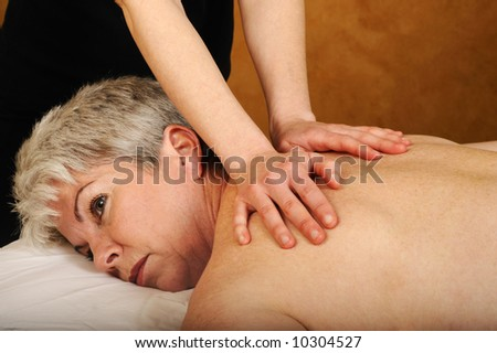 Senior Health and Fitness Full Body Massage - stock photo