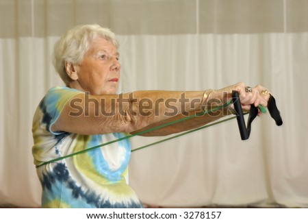 Senior Health and Fitness Upper Body Workout - stock photo