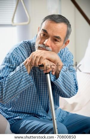 senior in hospital - stock photo