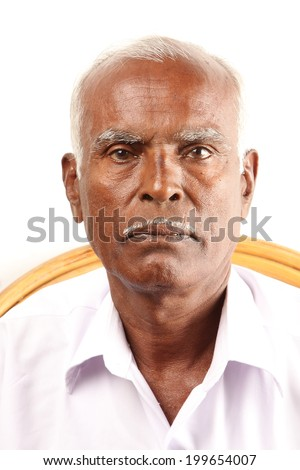 Senior Indian old man serious expression. - stock photo