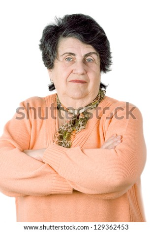 senior lady portrait on white background - stock photo