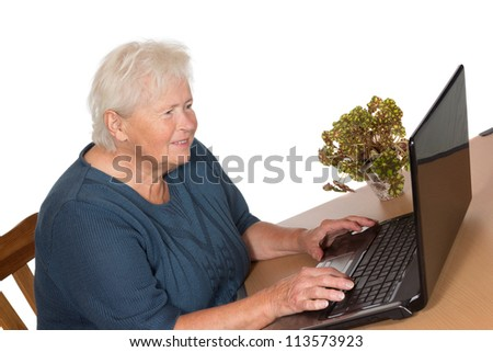 Senior lady seated at her dining room table engrossed in reading information on the screen while working on a laptop - stock photo