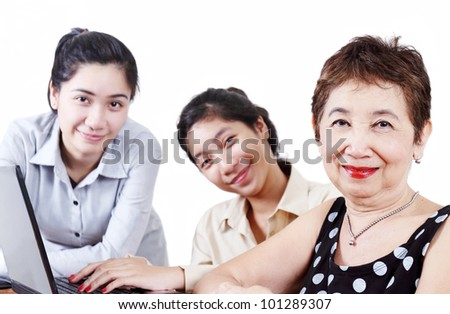 Senior lady together with grandchildren. - stock photo