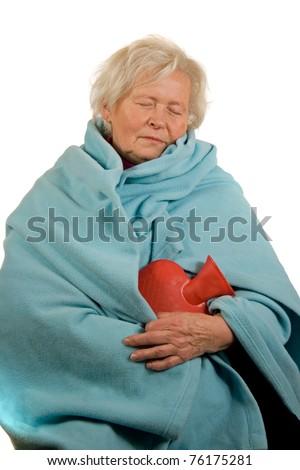 Senior lady with a flu - stock photo