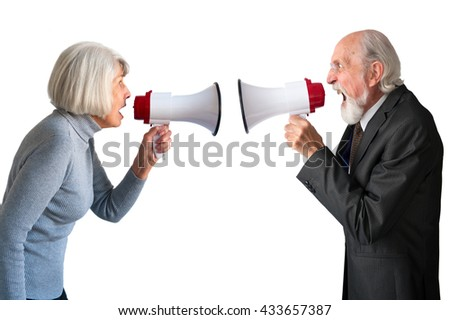 senior man and woman arguing isolated on white  - stock photo