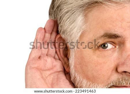 Senior Man Hard Of Hearing/ On White Background - stock photo