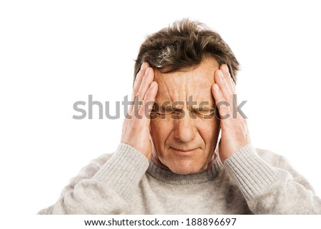 Senior man has headache, isolated on white background - stock photo