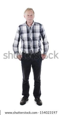 Senior man isolated on white background - stock photo