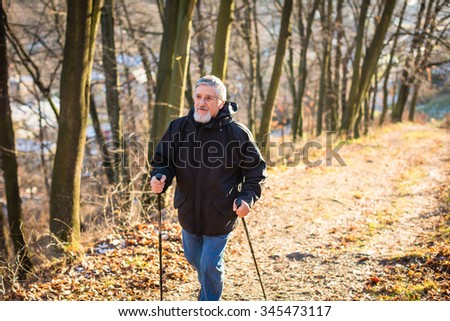 Senior man nordic walking, enjoying the outdoors, the fresh air, getting the necessary exercise - stock photo