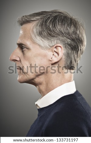 Senior Man Profile - stock photo