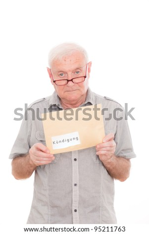 senior man recieving delivery postal of contract - stock photo