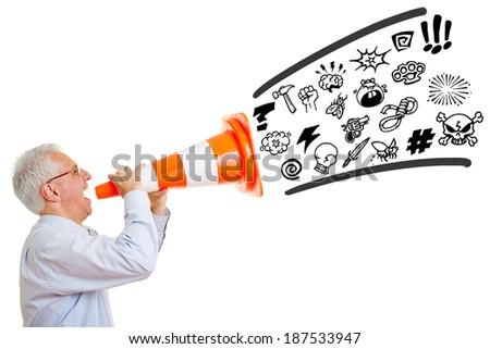 Senior man screaming curse words and insults in a pylon - stock photo