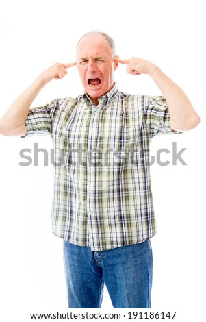 Senior man shouting in frustration - stock photo