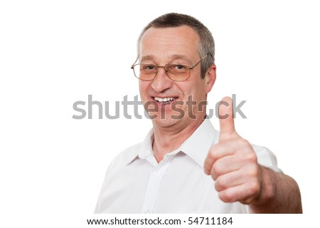 senior man showing ok sign isolated on white background - stock photo