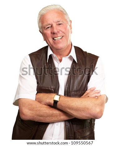 Senior Man Smiling With Hands Folded Isolated On White Background - stock photo