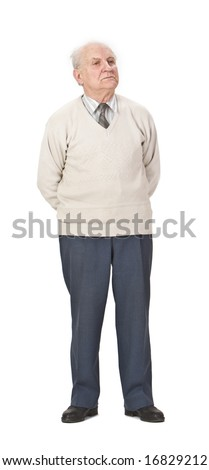 Senior man wearing a sweater standing-up against a white background. - stock photo