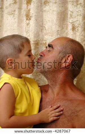 senior man with a grandson - stock photo