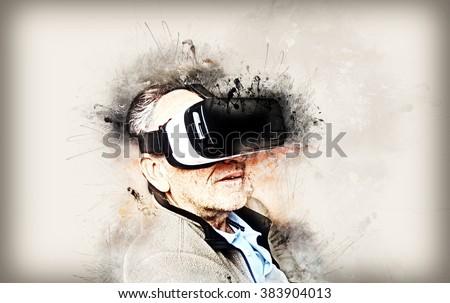 Senior man with mobile virtual reality headset (Creative paint artwork) - stock photo