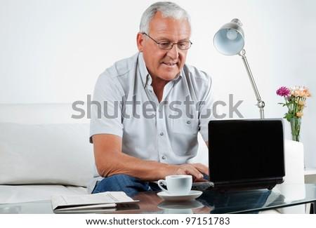 Senior man working on laptop at home - stock photo