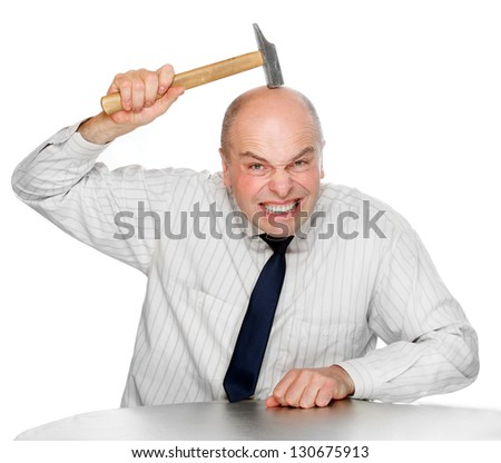 Senior manager very hard brainstorming. Funny picture from office. - stock photo