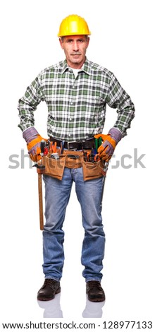 senior manual worker isolated on white background - stock photo