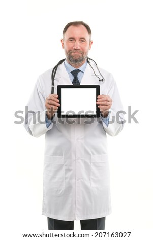 Senior medical doctor showing blank digital tablet pc. Isolated on white background - stock photo