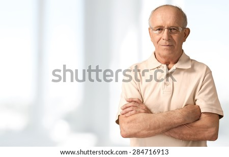 Senior Men, Isolated, Senior Adult. - stock photo