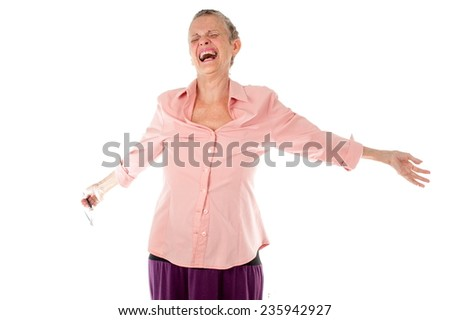 Senior over white background screaming . - stock photo