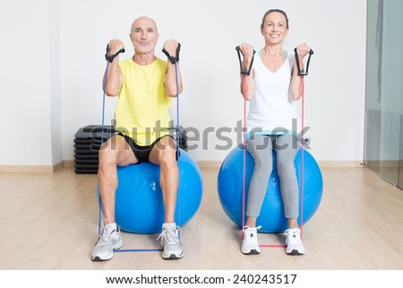Senior skipping rope exercise on fitness rope - stock photo