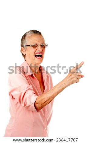 Senior talking and screaming . - stock photo