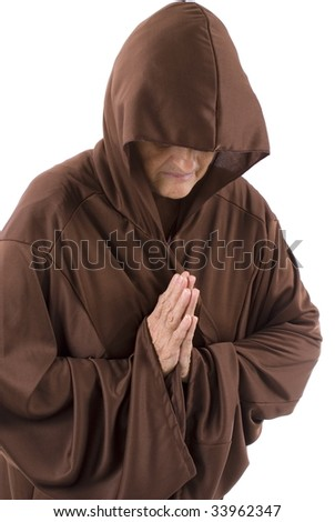 Senior with a brown cape on white . - stock photo