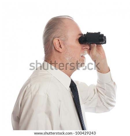 Senior with ocular looking to the side - stock photo