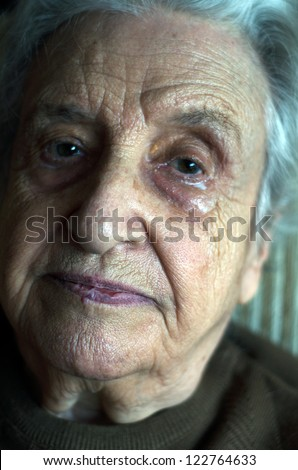senior woman crying - stock photo