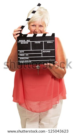 Senior Woman Holding Clapper Isolated On White Background - stock photo