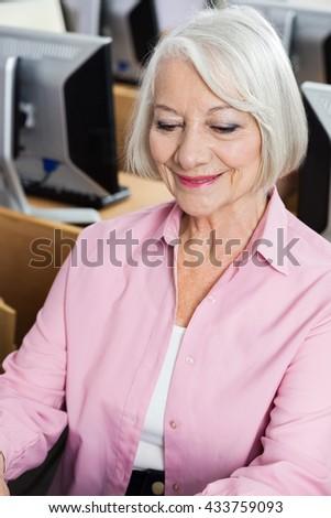 Senior Woman In Computer Class - stock photo