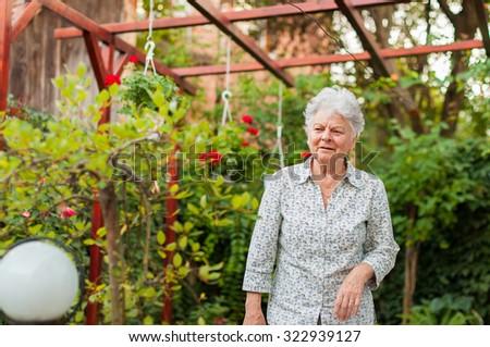 Senior woman in the garden - stock photo