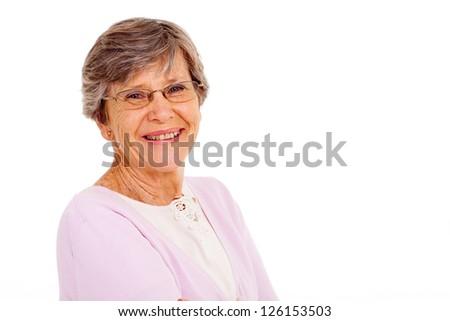 senior woman isolated on white background - stock photo