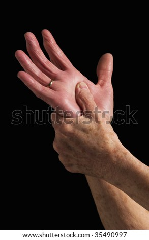 senior woman portrait of hands - stock photo