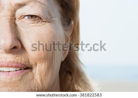 Senior woman's face - stock photo