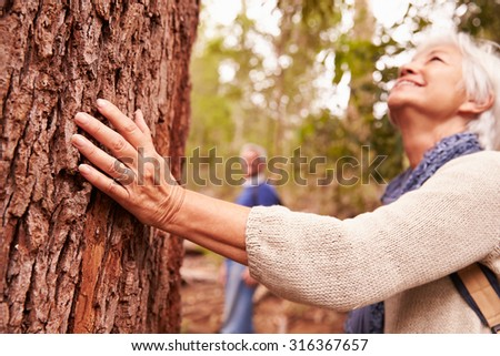 Senior woman touching tree in forest, man in the background - stock photo