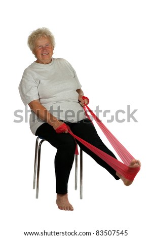 Senior woman with a fitness band on white background - stock photo