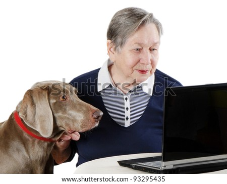 senior woman with dog working on a laptop - stock photo