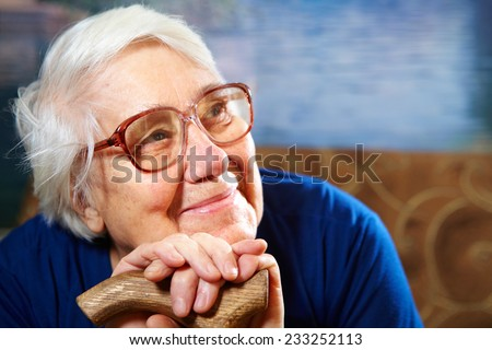 Senior woman with glasses portrait. Retirement concept - stock photo