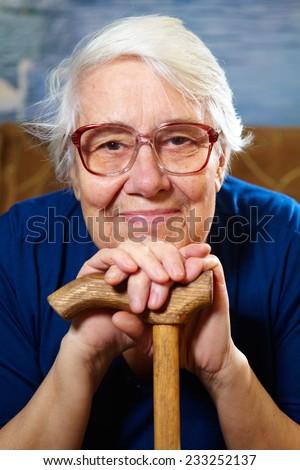 Senior woman with glasses portrait. Retirement concept - stock photo