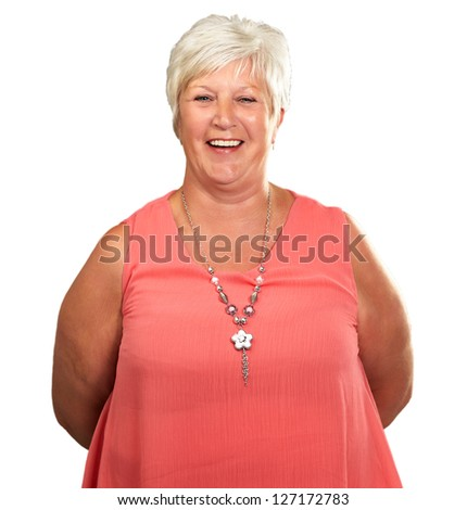 Senior Woman With Hands Behind Isolated On White Background - stock photo