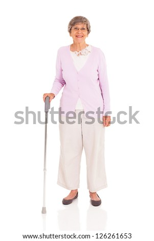 senior woman with walking cane isolated on white background - stock photo